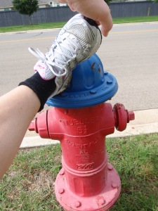 stretching on the hydrant